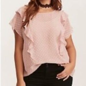 Torrid Plus Size Textured Sheer Polka Dot Blouse